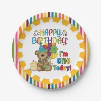 Happy Birthday Teddy Bear 1st Birthday Paper Plate 7 Inch Paper Plate