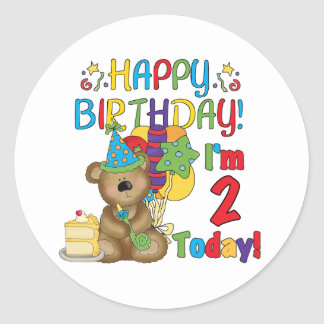 Happy Birthday Teddy Bear 2nd Birthday Classic Round Sticker