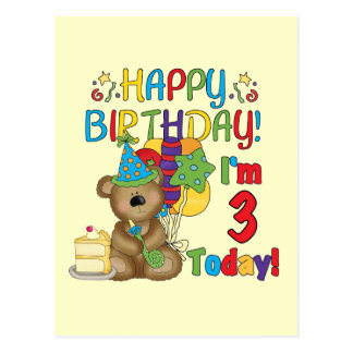 Happy Birthday Teddy Bear 3rd Tshirts and Gifts Postcard