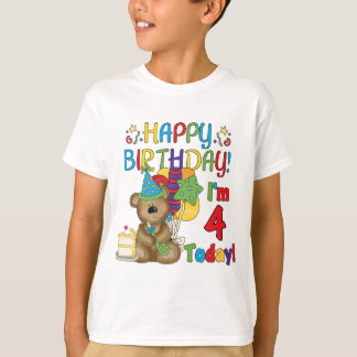 Happy Birthday Teddy Bear 4th T-shirts and Gifts