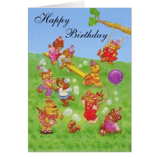 Happy Birthday Teddy Bear's Bubbles party Card