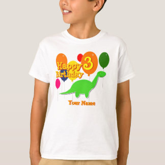 Happy Birthday Three Years Balloon Dinosaur Shirt