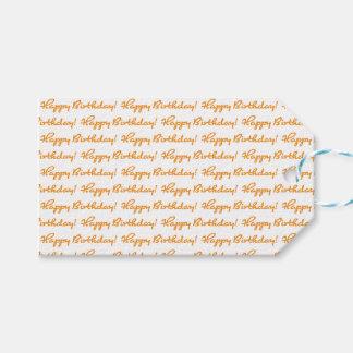 Happy Birthday! Tiled Autumn Orange Casual Script Gift Tags