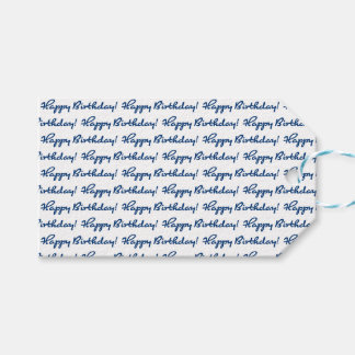 Happy Birthday! Tiled Blue Casual Script Gift Tags