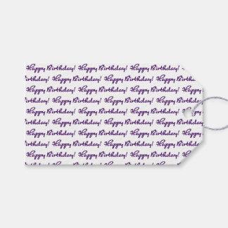 Happy Birthday! Tiled Dark Purple Casual Script Gift Tags