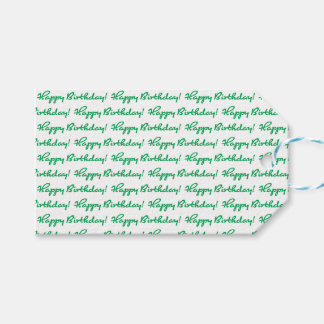 Happy Birthday! Tiled Green Casual Script Gift Tags