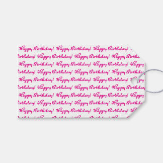 Happy Birthday! Tiled Hot Pink Casual Script Gift Tags