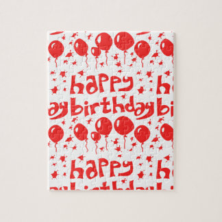 happy birthday tiled text with balloons jigsaw puzzle