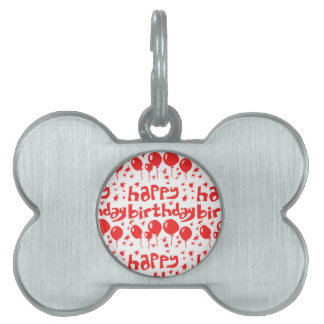 happy birthday tiled text with balloons pet name tags