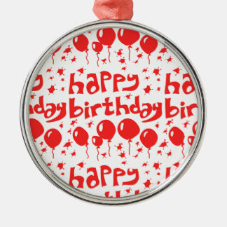 happy birthday tiled text with balloons Silver-Colored round ornament
