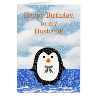 Happy birthday to Husband with penguin Greeting Card