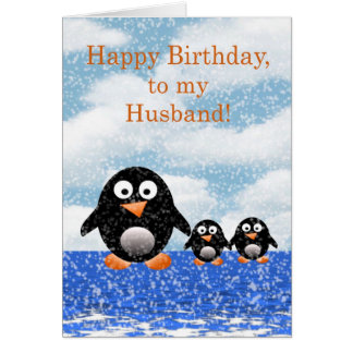 Happy birthday to Husband with penguins Greeting Card