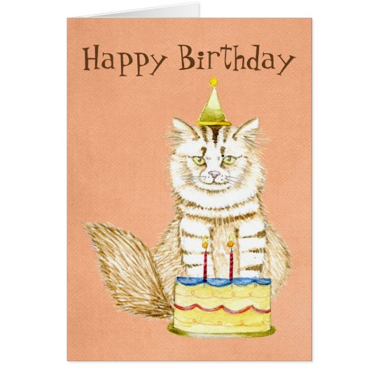 Happy Birthday to Meow   Kitty with Cake Card