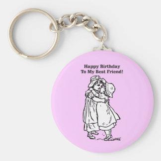 Happy Birthday to my best friend! Basic Round Button Keychain