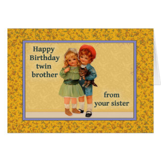 Happy Birthday to Twin Brother From Twin Sister Greeting Card
