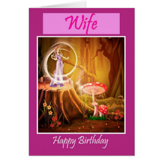 Happy Birthday to wife from husband with fairy Greeting Card
