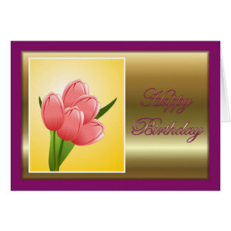 Happy Birthday to wife from husband with flowers Greeting Card