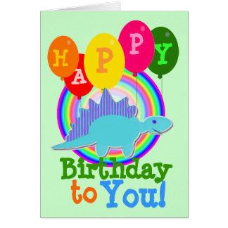 Happy Birthday to You Blue Cartoon Dinosaur Card