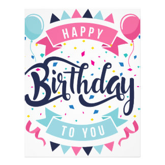 Happy birthday to you confetti and bunting letterhead template