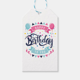 Happy birthday to you confetti and bunting pack of gift tags