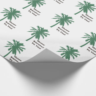 Happy birthday to you, green palm trees gift wrap. wrapping paper