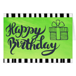 Happy Birthday to You Lime Green & Black  Birthday Card