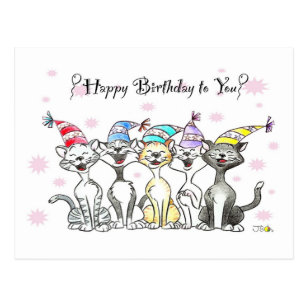 Happy Birthday To You Singing Cats Postcard