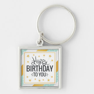 Happy Birthday to you starry gold minty stripes Silver-Colored Square Keychain