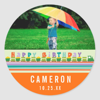 Happy Birthday Train Boy Birthday Photo Sticker