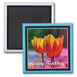 Happy Birthday! Tulips yellow red Magnet