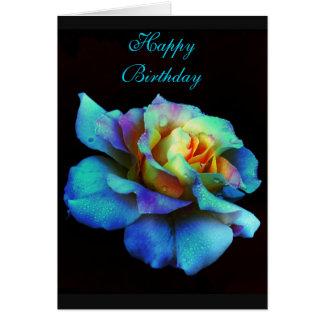 Happy Birthday Turquoise Rainbow Rose Card