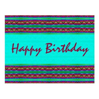 Happy Birthday turquoise red Postcard