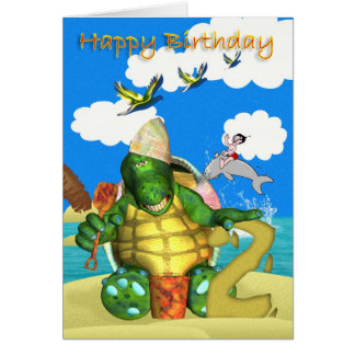 Happy Birthday Turtle making Sandcastles Card