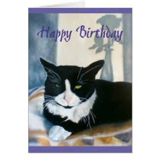 Happy Birthday Tuxedo Cat next to sunny window Card