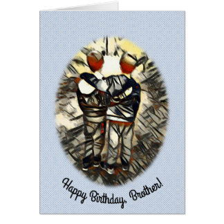 Happy Birthday Twin Brother Patterned Background Card