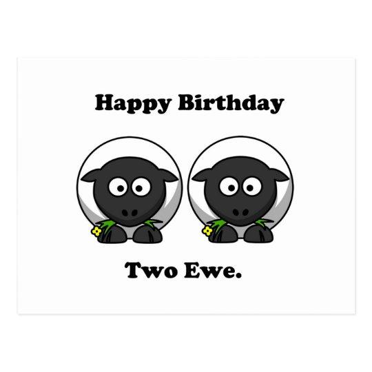 Happy Birthday Two Ewe To You Cartoon Postcard