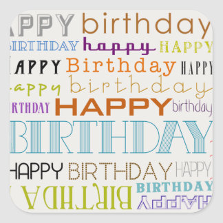 Happy Birthday Typography Square Stickers (Small)