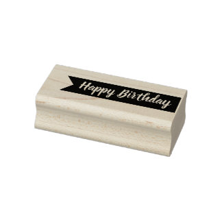 Happy Birthday Typography with Banner Rubber Stamp