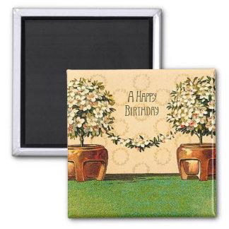 Happy Birthday Vintage Flowering Pots Magnet