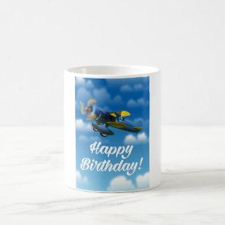 Happy Birthday vintage plane in a blue sky Coffee Mug