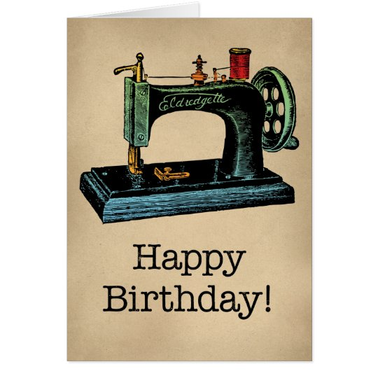 Happy Birthday Vintage Sewing Machine Card