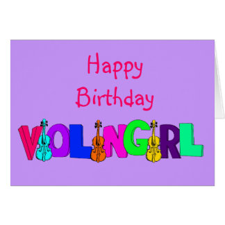 Happy Birthday Violin Girl Card