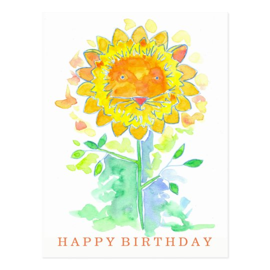 Happy Birthday Watercolor Lion Flower Postcard