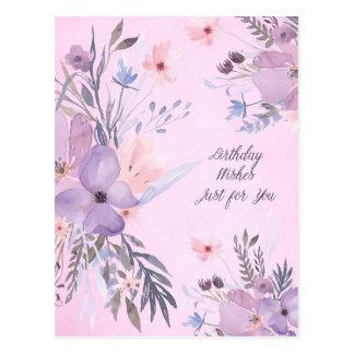 Happy Birthday Watercolor Wildflowers Postcard