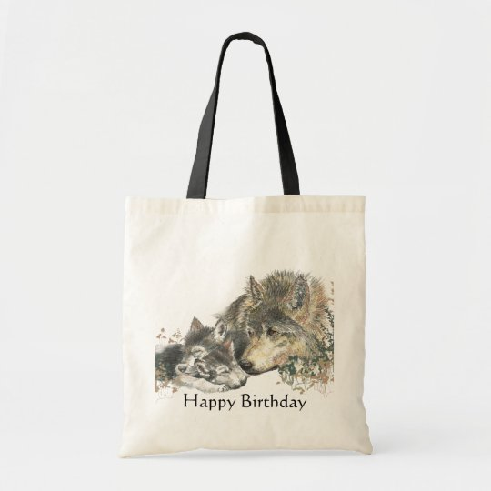 Happy Birthday Watercolor Wolf & Cubs Animal Art Tote Bag