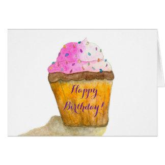 Happy Birthday Watercolors Pink Cupcake, Sprinkles Card