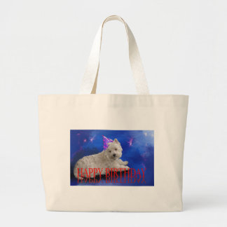 Happy Birthday Westie Large Tote Bag