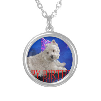 Happy Birthday Westie Silver Plated Necklace