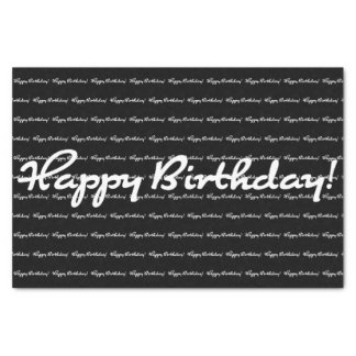 Happy Birthday! White Casual Script Repeating Tissue Paper