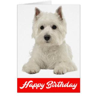 Happy Birthday White Highland Terrier Puppy Dog Card